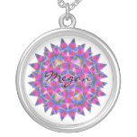 Colorful floral Abstract pattern Silver Plated Necklace