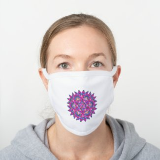 Colorful floral Abstract pattern - White Cotton Face Mask