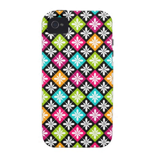 Colorful Floral Argyle Pattern Case Mate iPhone 4 Vibe iPhone 4 Covers