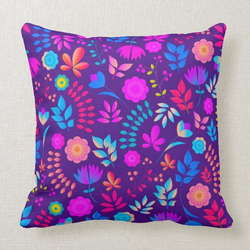 Colorful floral art pattern throw pillow Zazzle