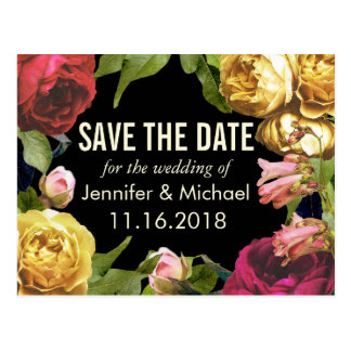 Colorful Floral Artistry Save the Date Postcard