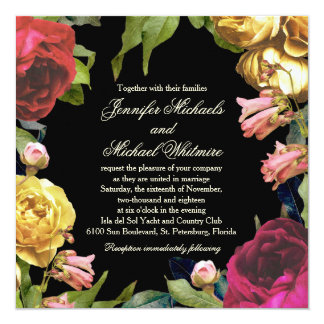 Colorful Floral Artistry Wedding Card