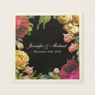 Colorful Floral Artistry Wedding Napkin