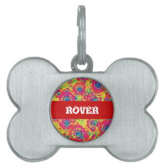 Colorful floral artwork pet tag