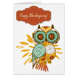 Colorful Floral Autumn Owl Happy Thanksgiving Card