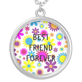 Colorful  Floral Best Friends Forever Round Pendant Necklace