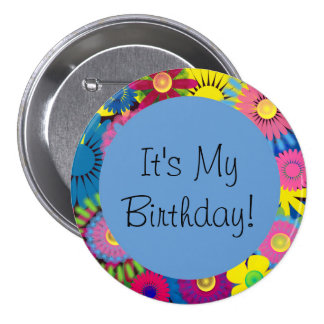 Colorful Floral Birthday Button