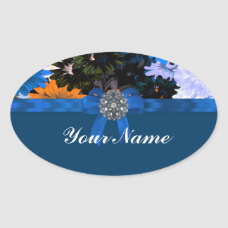 Colorful floral & blue oval sticker