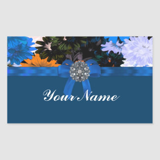 Colorful floral & blue rectangular sticker