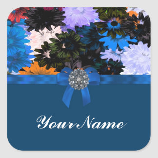 Colorful floral & blue square sticker
