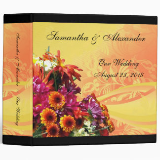 Colorful Floral Bouquet Orange/Yellow Design Binder