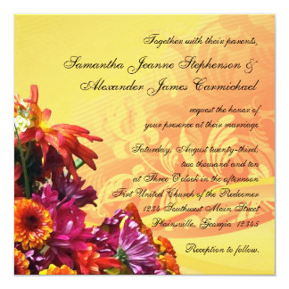 Colorful Floral Bouquet Orange/Yellow Design Card