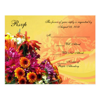 Colorful Floral Bouquet Orange/Yellow Design Postcard