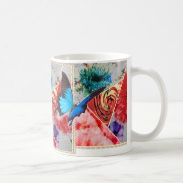 merydesigns COLORFUL FLORAL BUTTERFLIES COFFEE MUG