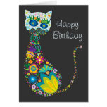 Colorful Floral Cat Happy Birthday Greeting Card