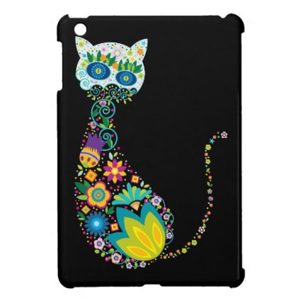 Colorful Floral Cat iPad Mini Covers