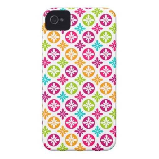Colorful Floral Circle Pattern Design iPhone 4 Covers