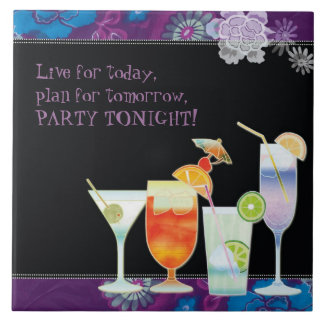 Colorful Floral Cocktails New Home Party Gift TIle