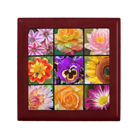 Colorful floral collage print gift box
