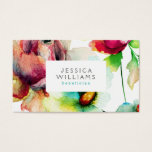 Colorful Floral Collage Watercolors Illustration Business Card at Zazzle