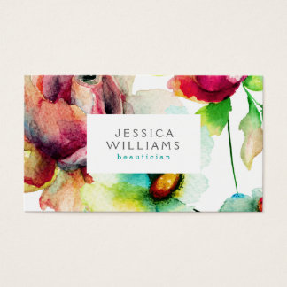 Colorful Floral Collage Watercolors Illustration Business Card