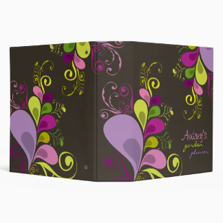 Colorful Floral Deco Leaves Nature Art Deco Chic 3 Ring Binder
