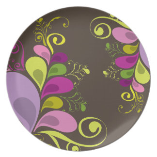 Colorful Floral Deco Leaves Nature Art Deco Chic Dinner Plate