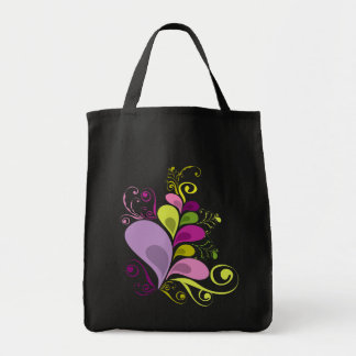 Colorful Floral Deco Leaves Nature Art Deco Chic Grocery Tote Bag