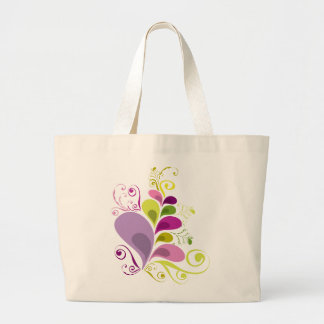Colorful Floral Deco Leaves Nature Art Deco Chic Jumbo Tote Bag