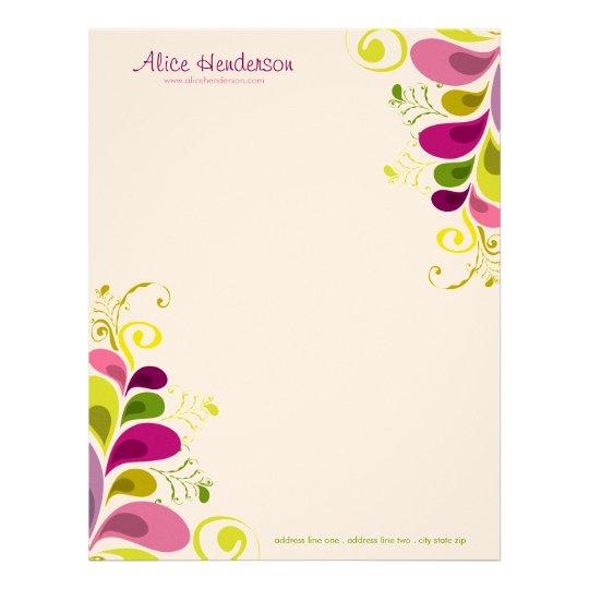 Colorful Floral Deco Leaves Nature Art Deco Chic Letterhead