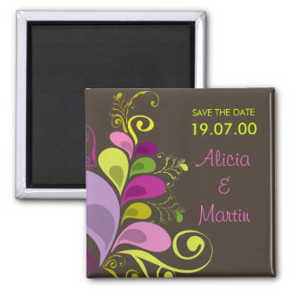 Colorful Floral Deco Leaves Save The Date Magnet