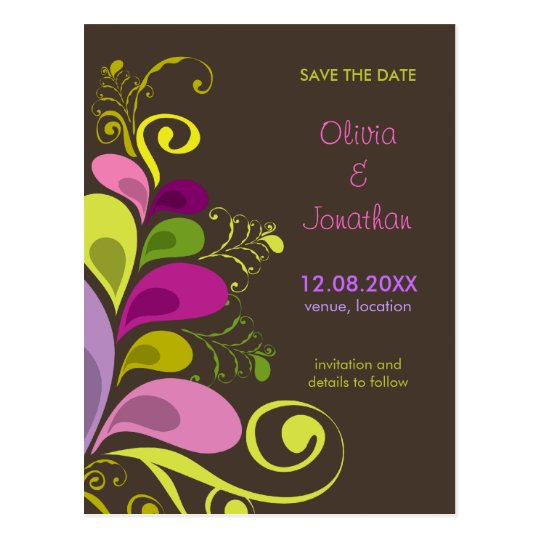 Colorful Floral Deco Leaves Save The Date Postcard