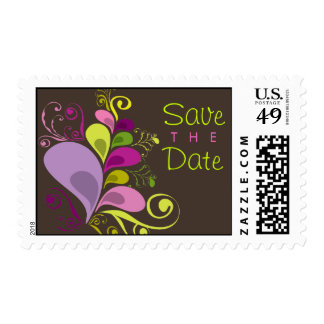 Colorful Floral Deco Leaves Save The Date Stamps