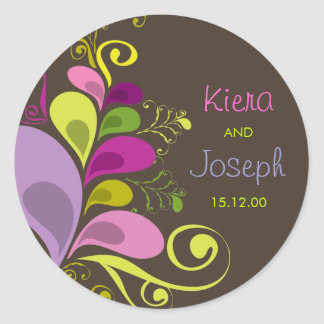 Colorful Floral Deco Leaves Summer Wedding Sticker