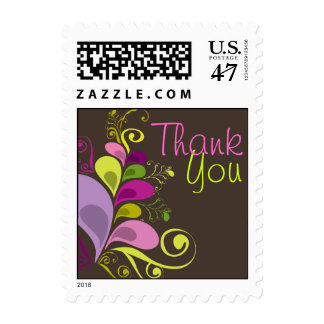 Colorful Floral Deco Leaves Thank You Stamps
