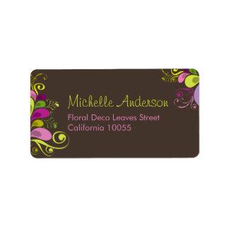 Colorful Floral Deco Leaves Wedding Address Labels