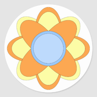 Colorful floral design classic round sticker