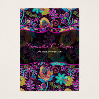 Colorful Floral Design Glass-Beads Look Business Card