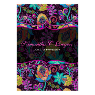 Colorful Floral Design Glass-Beads Look Large Business Card
