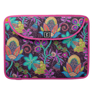 Colorful Floral Design Glass-Beads Look Sleeve For MacBook Pro