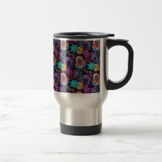 Colorful Floral Design Glass Beads Look Travel Mug