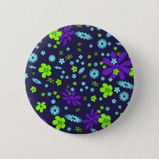 Colorful floral design pinback button