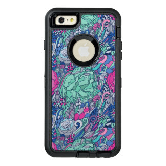 Colorful Floral Doodle Pattern OtterBox Defender iPhone Case