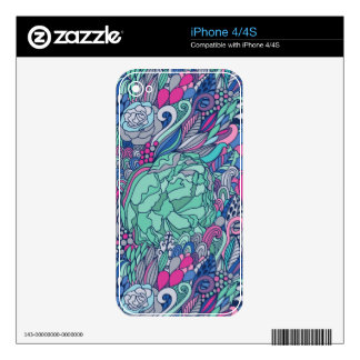 Colorful Floral Doodle Pattern Skin For iPhone 4