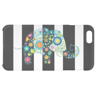 Colorful Floral Elephant Black & White Stripes Uncommon Clearly™ Deflector iPhone 6 Plus Case
