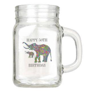Colorful Floral Elephant Happy 50th Birthday Mason Jar
