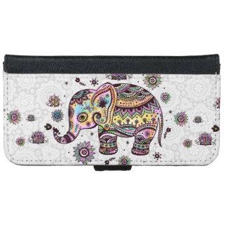Colorful Floral Elephant Illustration iPhone 6/6s Wallet Case