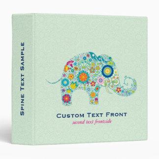 Colorful Floral Elephant & Mint-Green Background 3 Ring Binder