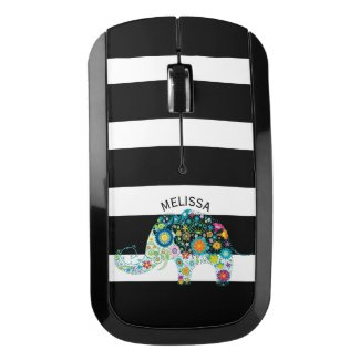 Colorful Floral Elephant On Black & White Stripes