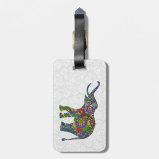 Colorful Floral Elephant White Damasks Bag Tag